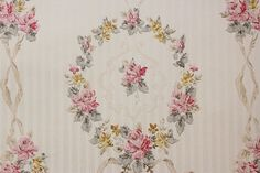 1940's Vintage Wallpaper Roses Wreaths and Ribbons by the Yard--Made in England