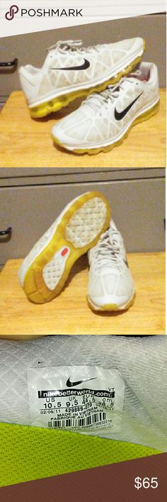 Nike Air Max Shoes has a white mesh upper with a black nike logo on both sides and yellow bottom. Shoes are in good condition.  Size:10.5 ; no box Nike Air Max Shoes Sneakers