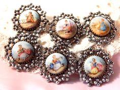 19th Century Porcelain Buttons with Faceted Steel Borders set of 6 on Etsy, $1,200.00