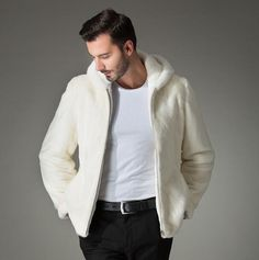 White fashion hooded warm casual faux fox fur coat mens leather jacket men coats Villus slim winter thermal outerwear S - 3XL