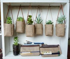 Upcycled GrEEN AbBY plant baskets made from burlap coffee bags