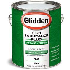 Glidden High Endurance Plus Interior Flat Paint, White, Paint+Primer 1 Gallon $21.97