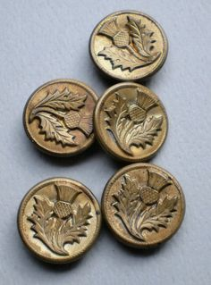 Set of Vintage Scottish Thistle buttons by legacybuttons on Etsy, $15.00
