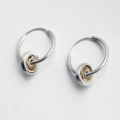 Silver with gold spirals, silver hoop