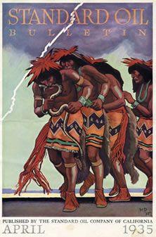 Standard Oil Bulleting, April Hopi Snake Dance, cover by Maynard Dixon Frederic Remington, Crane, Magazine Art, Magazine Covers, Maynard Dixon, Hopi Indians, Native American Indians, Native Americans, Standard Oil