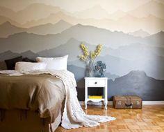 Com estampa de motanhas, este quarto apostou no degradê neutro, com tons de nude e cinza.