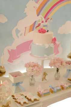 Unicorn Party with Lots of Great Ideas via Kara's Party Ideas… First Birthday Balloons, Unicorn Birthday Parties, Birthday Ideas, Rainbow Unicorn Party, Rainbow Birthday, Festa Do My Little Pony, Horse Party, Partys, Childrens Party