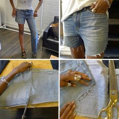 how to make perfect cut offs.  I just picked up a couple of pairs of Goodwill jeans for this purpose...
