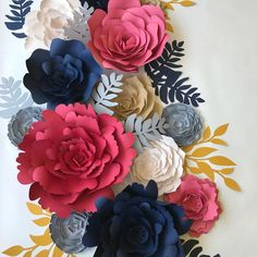 Large paper flowers in custom colors for weddings, events and home decor.