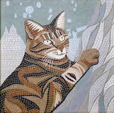 Cats in Art: mosaic, Robert Field Bonnie Mosaic Crafts, Mosaic Projects, Mosaic Art, Mosaic Glass, Glass Art, Stained Glass, Mosaic Designs, Mosaic Patterns, Cat Template