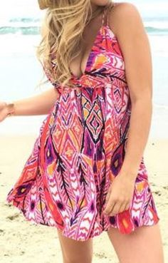 Love these Colors + Feather Print! Sexy Orange + Purple Spaghetti Strap Back Criss-Cross Design Backless Floral Print Summer Beach Dress #Orange #Purple #Fun #Flirty #Summer #Beach #Dress #Fashion