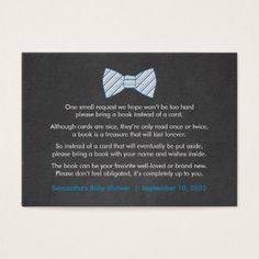 Rustic Bowtie Book request / books for baby boy Business Card - rustic gifts ideas customize personalize