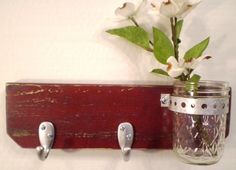 Wooden Wall Hanger with Jar Shabby Chic / French Country-Red. $22.00, via Etsy.