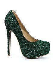 dark green glittery heels.