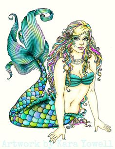 Okay, of course I LOVE it cuz it's a mermaid, but I'm pinning it here bcuz I LOVE the colors in her tail!!!!
