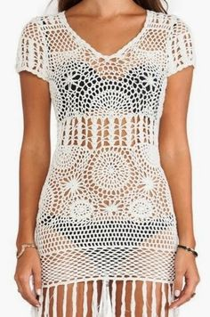 Shop for Cleobella Daisy Dress in Ivory at REVOLVE. Crochet Lingerie, Bikinis Crochet, Beach Crochet, Knit Crochet, Crochet Tops, Daisy Dress, Beach Attire, Crochet Fashion, Revolve Clothing