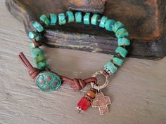 Turquoise Knotted bracelet southwestern  Old West  por slashKnots