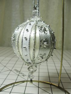 Handmade Silver Beaded Christmas Tree Ornament Silver Trims, Beads & Ribbons