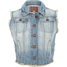 Nothing shouts cool-girl like a bit of frayed denim. With a cute cropped shape and distressed finish, this light wash gilet will see you through festival season, summer and beyond. Featuring metal button fastenings and four front pockets. Denim Waistcoat, Budget Fashion, Fashion Trends, Rihanna Style, Black Vest, Celebrity Look, Complete Outfits, Tiffany Blue, River Island