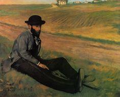 "impressionism-art-blog: "" Eugene Manet by Edgar Degas Size: 65x86 cm Medium: oil on canvas"""