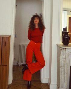70s Fashion, Look Fashion, Womens Fashion, Child Fashion, College Fashion, Red Pants Fashion, Red Fashion Outfits, Fall Fashion, Korean Fashion