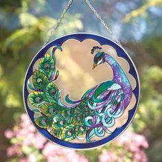 Bits and Pieces - Peacock Art Glass Suncatcher - Hand Painted Window Decor 192949007506 Peacock Decor, Peacock Art, Peacock Feathers, Peacock Crafts, Peacock Painting, Peacock Colors, Tole Painting, Glass Wall Art, Stained Glass Art