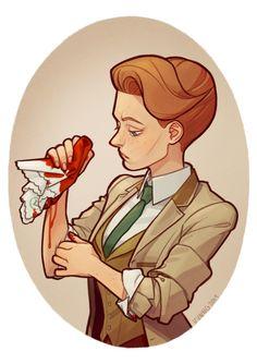 A portrait of Rosalind Lutece, of Bioshock Infinite.