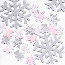 """Winter Baby Shower Theme Decorations, Personalized Snowflake & Teddy Bear Confetti.  Mix of Large 3"""" Snowflakes and 1"""" personalized & solid teddy bear & snowflake table scatter in beautiful pearl finish card stock will set a sweet and elegant baby shower table. In Pink & Silver, Blue & Silver or Pink/Blue/Silver for twins!"""