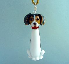 Reserved For Jay - Beagle Ornament Lampwork Glass Bead SRA by SUZOOM on Etsy