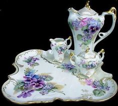 Elegant Victorian tea or chocolate set trimmed with gold and mother of pearl - Tea Set - Ideas of Tea Set - Elegant Victorian tea or chocolate set trimmed with gold and mother of pearl. Beautiful Pansy and violet motif. Tea Cup Set, My Cup Of Tea, Tea Cup Saucer, Tea Sets, Chocolate Pots, Chocolate Coffee, Vintage Dishes, Vintage Tea, Vintage China