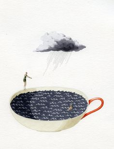 Laura Stoddart- Storm in a tea cup simple contemporary surreal watercolour illustration graphic style print Art And Illustration, Illustrations Posters, Storm In A Teacup, Grafik Design, Oeuvre D'art, Mail Art, Illustrators, Design Art, Art Photography