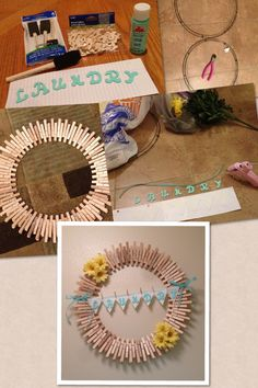 Laundry Room Wreath. DIY Laundry Room Decor. I used a 100 pack of close pins for $2, a wreath wire I purchased for $1.50, ABC letters for $3, tiny clothes pins for $3, paint (the color of my choice) for .54cents, some ribbon and cloth I had along with the flowers. Heart the Home by ~Shaynae~