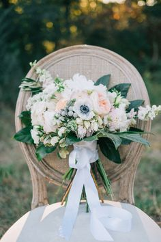 Wedding bouquet, pastel florals, white silk ribbons, repin to your own wedding inspiration board // Harwell Photography