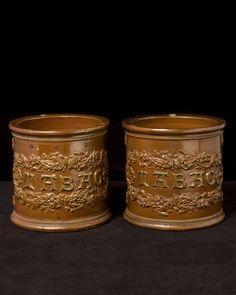 "Salt glaze Tabac jars, England late 19th century. Height 8"""