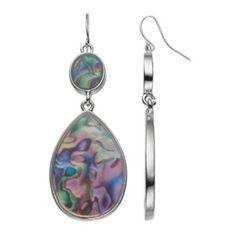 Simulated+Abalone+Nickel+Free+Oval+&+Teardrop+Earrings