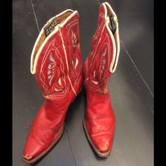 Vintage Acme 1950's cowboy boots. Serious vintage fans only ! Original Acme red with turquoise and cream inlays. All original leather soles with wooden pegs. These fit a size 7 1/2 but are narrow across the top of the foot. Make a cowgirl happy this Christmas :) Acme Shoes Ankle Boots & Booties