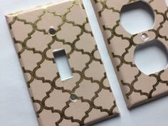 Blush Decor Gold and Pink Quatrefoil Light Switch Plate Cover/ Moroccan Decor/ Lattice Decor/ Gold Pink Nursery Decor/ Gold Decor/ Gold Blush Decor by COUTURELIGHTPLATES on Etsy https://www.etsy.com/listing/491888132/gold-and-pink-quatrefoil-light-switch