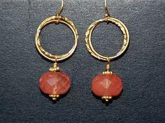 Cherry Quartz Circle 14K Gold Filled Dangle Earrings
