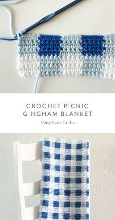 Free Pattern - Crochet Picnic Gingham Blanket #crochet