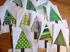 christmas trees, a bunch of them, made for a random sampler quilt (Funky Garden) #quilt #tree #block #fabric