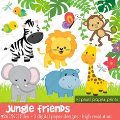 Jungle Friends Animals Clip art and Digital by pixelpaperprints, $6.00