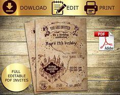 Harry Potter Marauders Map Wedding Invitation Save the Date RSVP