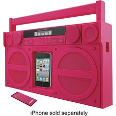 Listen to your favorite tunes with this iHome iP4 boombox that features an Apple iPhone and iPod dock, so you can enjoy your stored music and an FM digital tuner for access to radio programming. The retro boombox design offers a stylish look.