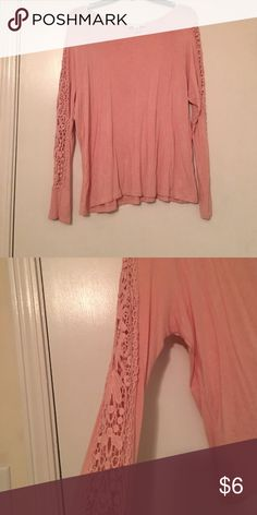 Pink forever 21 top Light pink light weight top with crochet type detail down both arms! Very cute for spring! Forever 21 Tops Blouses