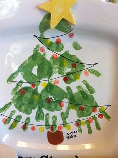 "This ""hand"" painted Christmas tree plate is a cute, meaningful gift for any parent!"