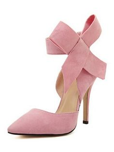 Pink Detachable Bow Embellishment High Heeled Pumps