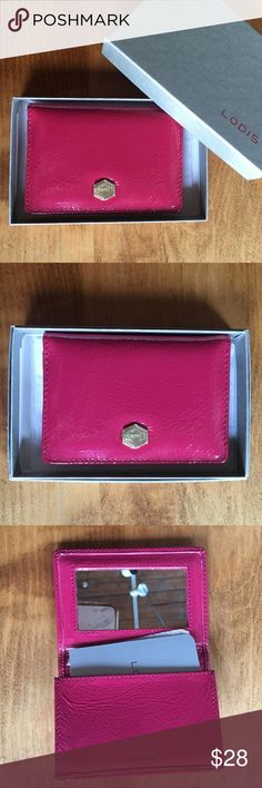 """NEW Lodis pink ID holder with mirror, great gift! New in box. Cute pink Lodis card holder with mirror. 2.75"""" x 4"""" when folded. 1 pocket inside and 1 pocket on the back. It would make a great gift! Lodis Accessories Key & Card Holders"""
