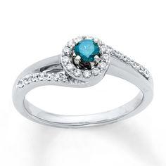 Diamond Engagement Ring 1/3 ct tw Blue/White 10K White Gold    Jareds     $799.99