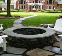 flagstone patio and fire pit
