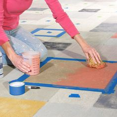 "DIY Concrete Patio Cover-Ups • Lots of Ideas & Tutorials! Including this concrete stain ""rug"" project from lowes."